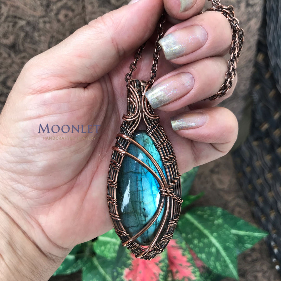 by MOONLET HANDCRAFTED JEWELRY Blue Labradorite Antique Copper Wire Jewelry