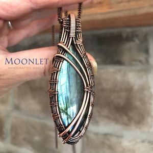 by MOONLET HANDCRAFTED JEWELRY Labradorite Aqua Marquise Antique Copper Pendant Necklace Wire Wrap Jewelry