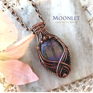 by MOONLET HANDCRAFTED JEWELRY Labradorite Criss Cross Antique Copper Pendant Necklace Wire Wrap Jewelry