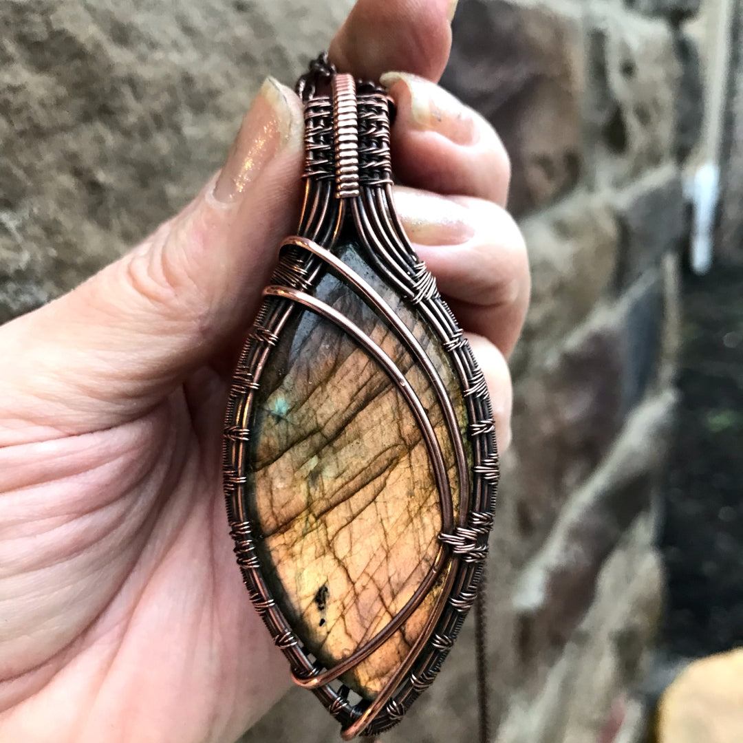 by MOONLET HANDCRAFTED JEWELRY Labradorite Statement Marquise Antique Copper Pendant Necklace Wire Wrap Jewelry