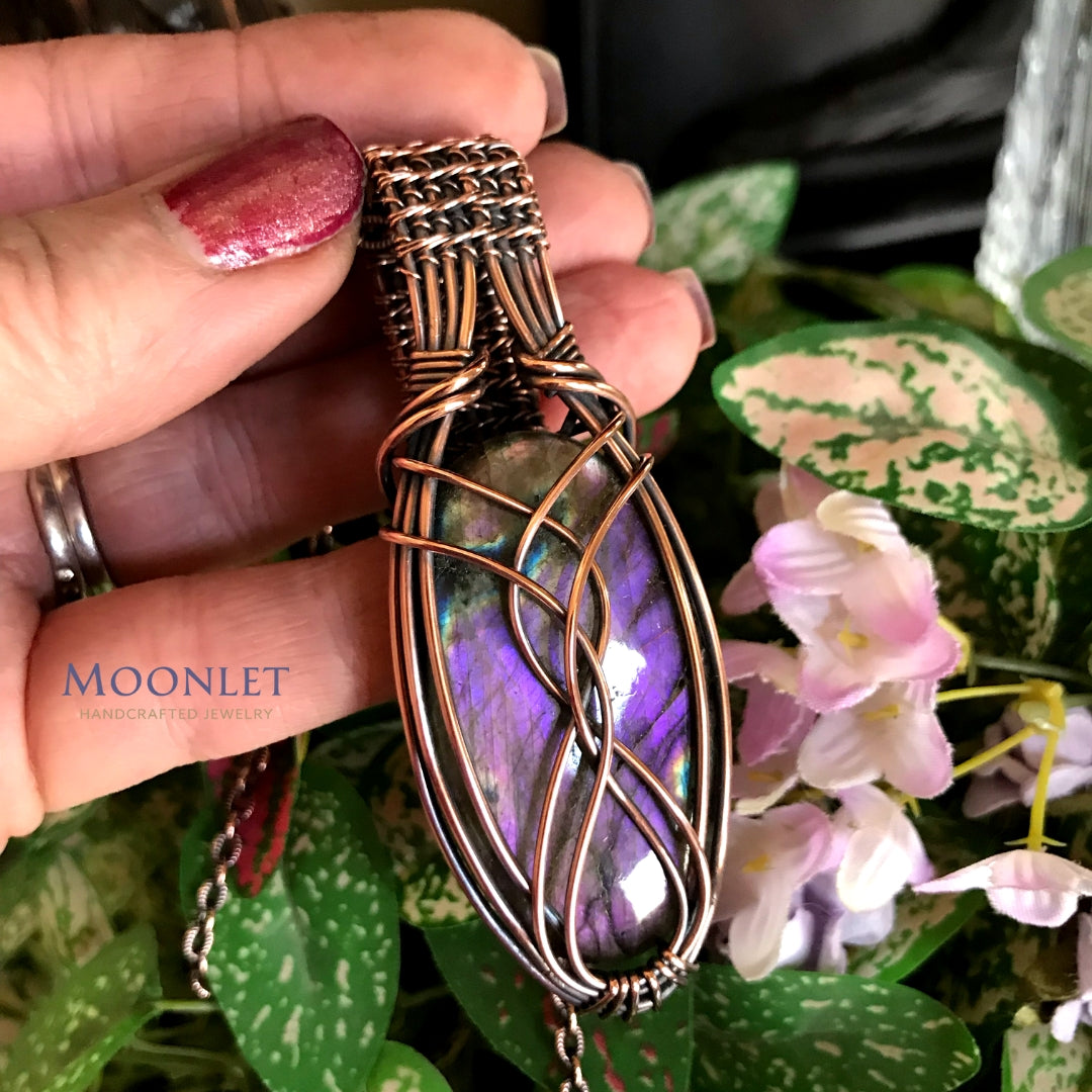 by MOONLET HANDCRAFTED JEWELRY Purple Labradorite Oval Antique Copper Pendant Necklace Wire Wrap Jewelry