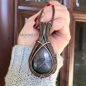 by MOONLET HANDCRAFTED JEWELRY Labradorite Pale Purple Antique Copper Pendant Necklace Wire Wrap Jewelry