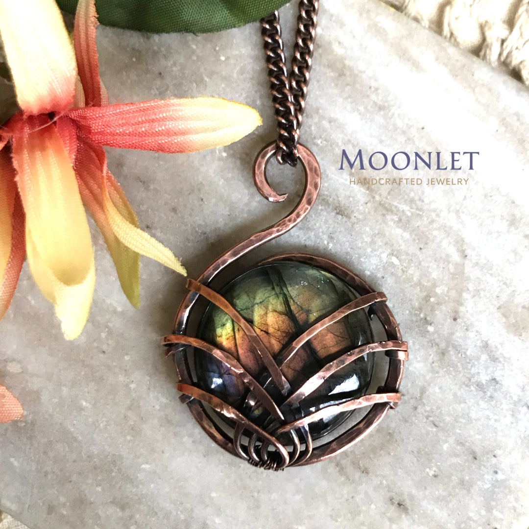 by MOONLET HANDCRAFTED JEWELRY Labradorite Peach Green Antique Copper Pendant Necklace Wire Wrap Jewelry