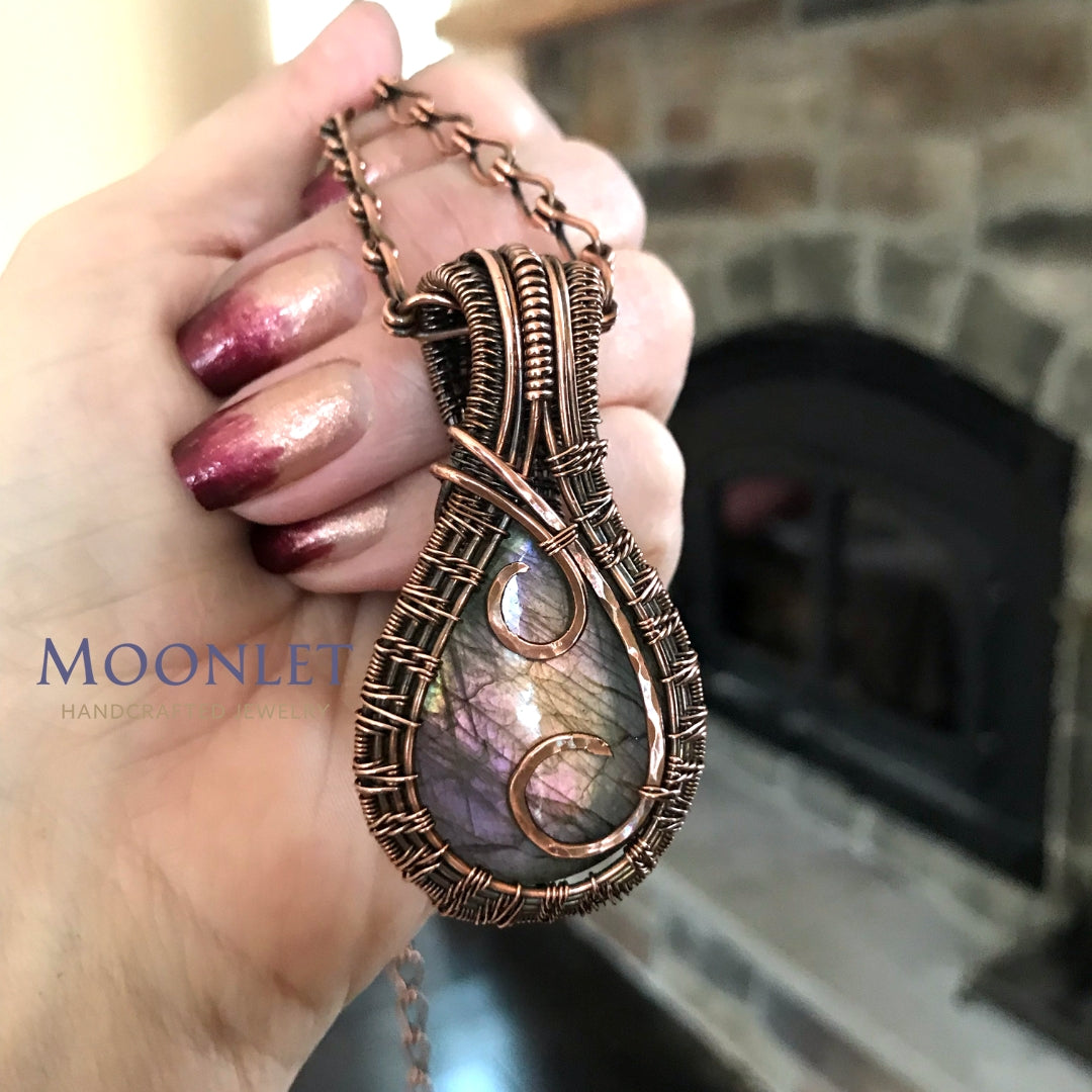 by MOONLET HANDCRAFTED JEWELRY Labradorite Teardrop Swirl Antique Copper Pendant Necklace Wire Wrap Jewelry