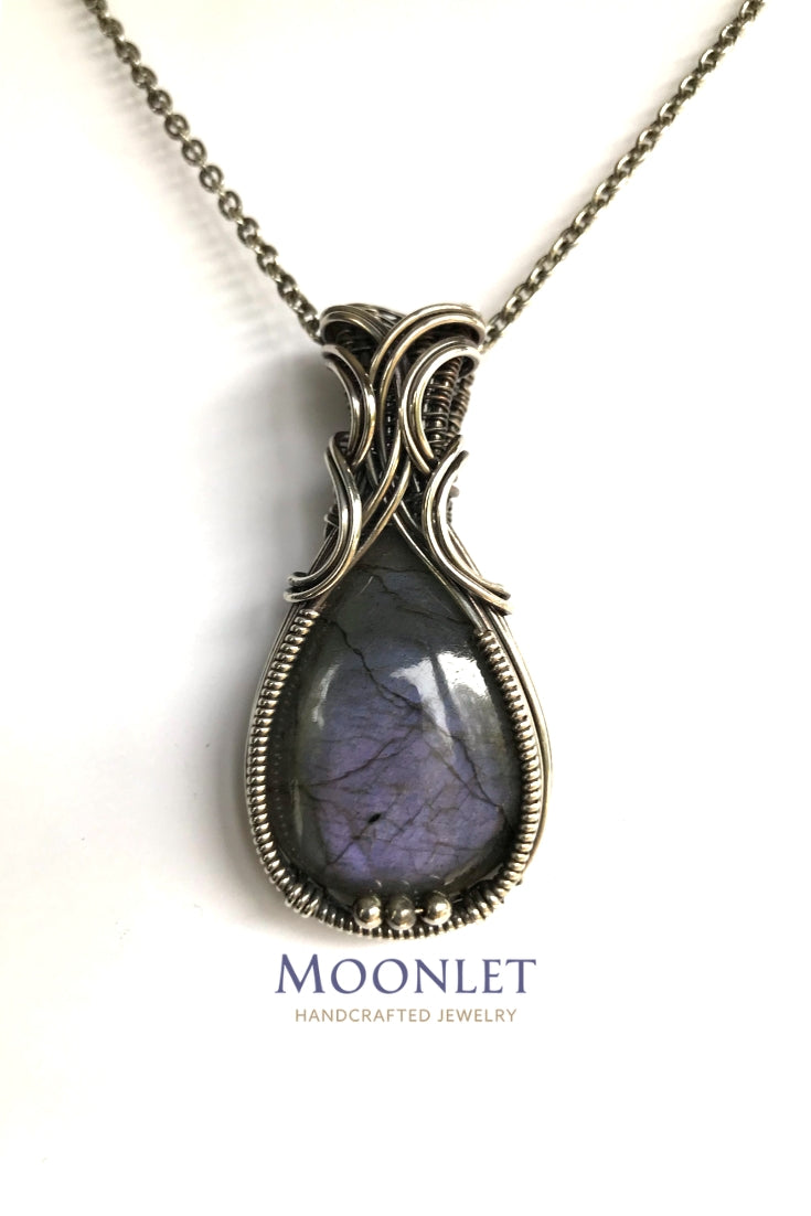 by MOONLET HANDCRAFTED JEWELRY Labradorite Gray Purple Antique Copper Pendant Necklace Wire Wrap Jewelry
