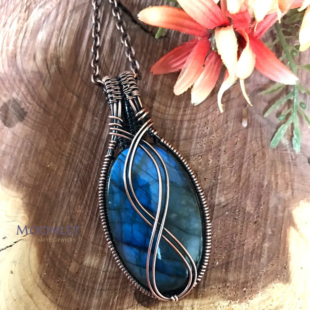 by MOONLET HANDCRAFTED JEWELRY Blue labradorite Infinity Antique Copper Pendant Necklace Wire Wrap Jewelry
