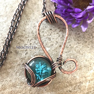 by MOONLET HANDCRAFTED JEWELRY Blue Glass Floral Antique Copper Pendant Necklace Wire Wrap Jewelry