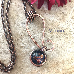by MOONLET HANDCRAFTED JEWELRY Glass Mini antique copper pendant necklace wire wrap  jewelry
