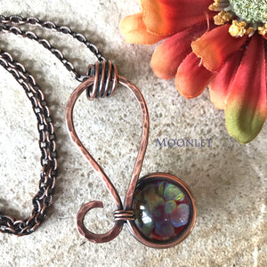 by MOONLET HANDCRAFTED JEWELRY Leo Pink Glass Antique Copper Pendant Necklace Wire Wrap Jewelry