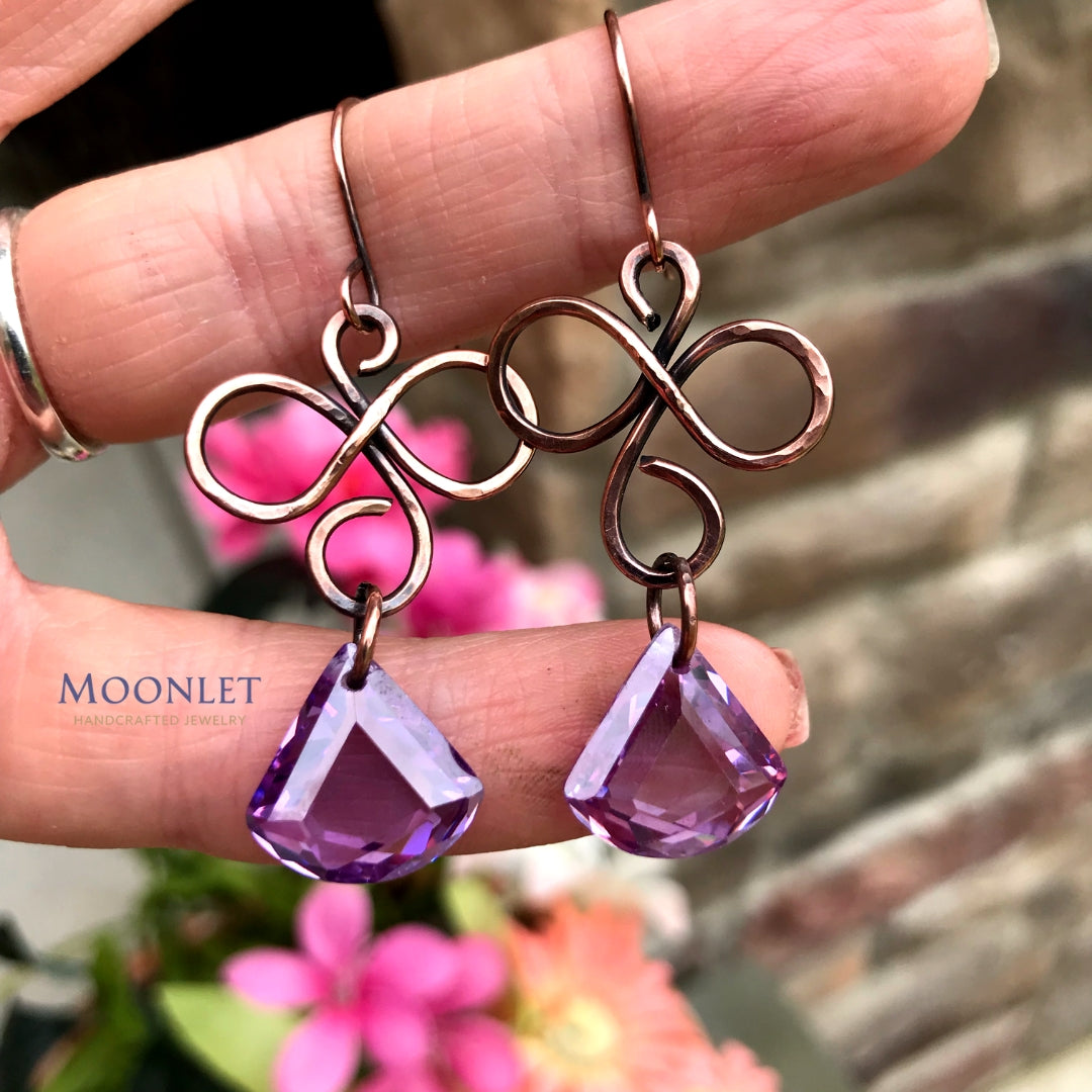 by MOONLET HANDCRAFTED JEWELRY Lilac Cubic Zirconia Antique Copper Earrings Wire Jewelry