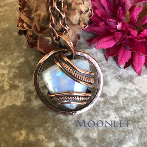by MOONLET HANDCRAFTED JEWELRY Moonstone Triangle Antique Copper Pendant Necklace Wire Wrap Jewelry