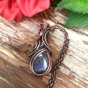 by MOONLET HANDCRAFTED JEWELRY Purple labradorite antique copper wire wrap pendant necklace jewelry