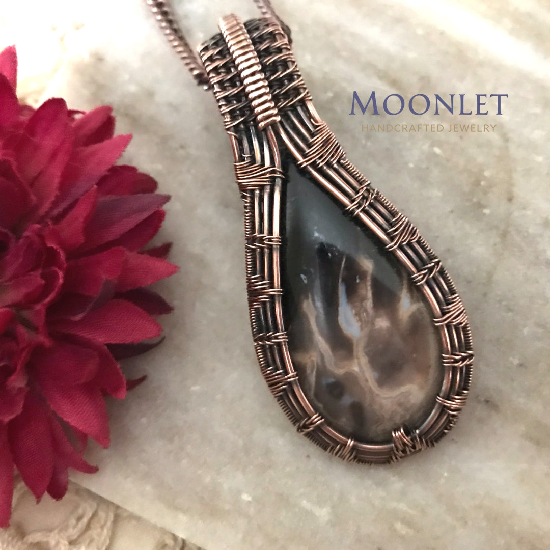 by MOONLET HANDCRAFTED JEWELRY Petrified Palm Wood Teardrop Antique Copper Pendant Necklace wire Wrap Jewelry