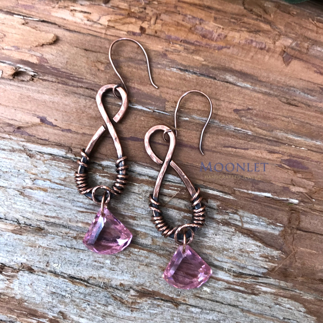 by MOONLET HANDCRAFTED JEWELRY Pink Cubic Zirconia Antique Copper Earrings Wire Jewelry