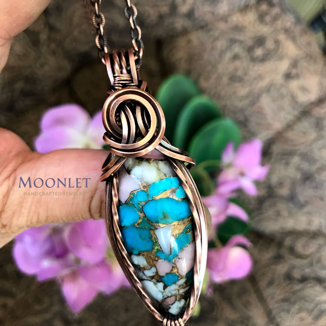 by MOONLET HANDCRAFTED JEWELRY PINK Opal Turquoise Antique Copper Pendant Necklace Wire Wrap Jewelry