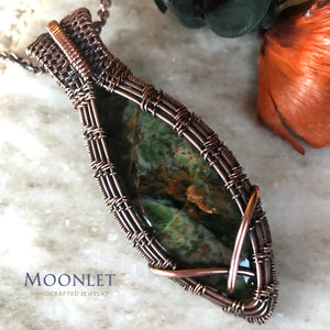 by MOONLET HANDCRAFTED JEWELRY Rainforest Chrysoprase Marquise Antique Copper Pendant Necklace Wire Wrap Jewelry