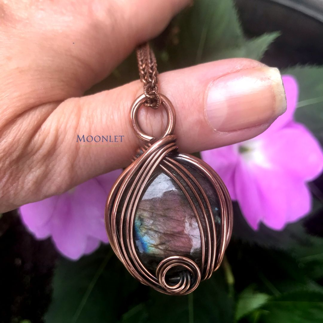 by MOONLET HANDCRAFTED JEWELRY ROUND LABRADORITE Antique Copper Pendant Necklace Wire Wrap Jewelry