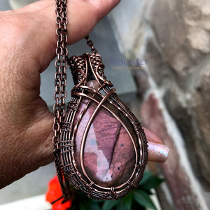 by MOONLET HANDCRAFTED JEWELRY Pink Amber Labradorite Antique Copper Pendant Necklace Wire Wrap Jewelry