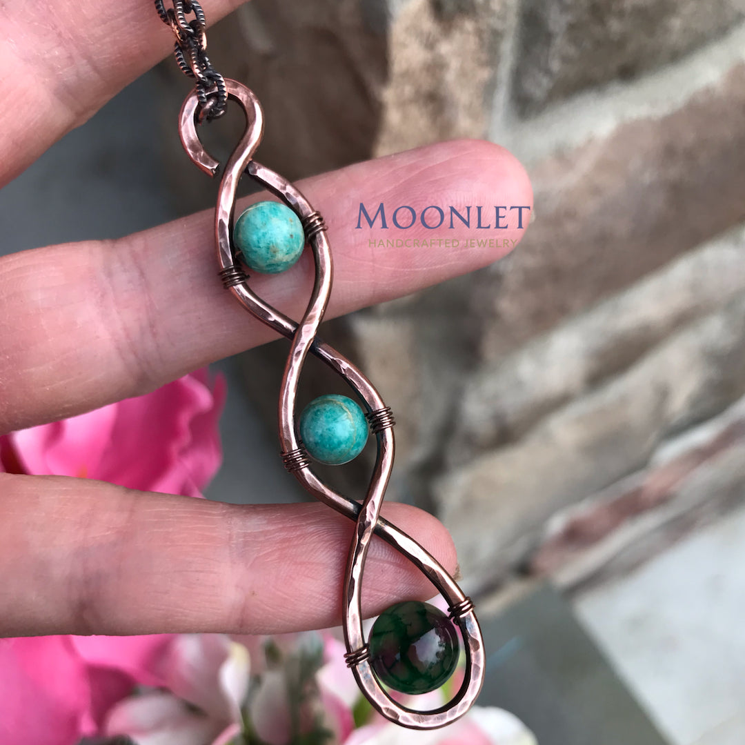 by MOONLET HANDCRAFTED JEWELRY Triple Infinity Antique Copper Pendant Necklace Wire Wrap Jewelry