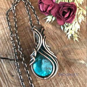 by MOONLET HANDCRAFTED JEWELRY Turquoise Antique Copper Pendant Necklace Wire Wrap Jewelry