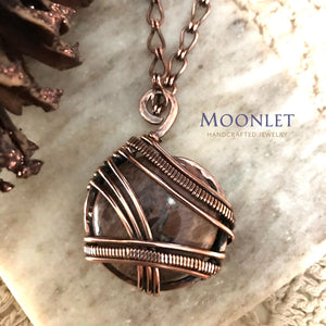 by MOONLET HANDCRAFTED JEWELRY Butterfly Jasper Antique Copper Pendant Necklace Wire Wrap Jewelry