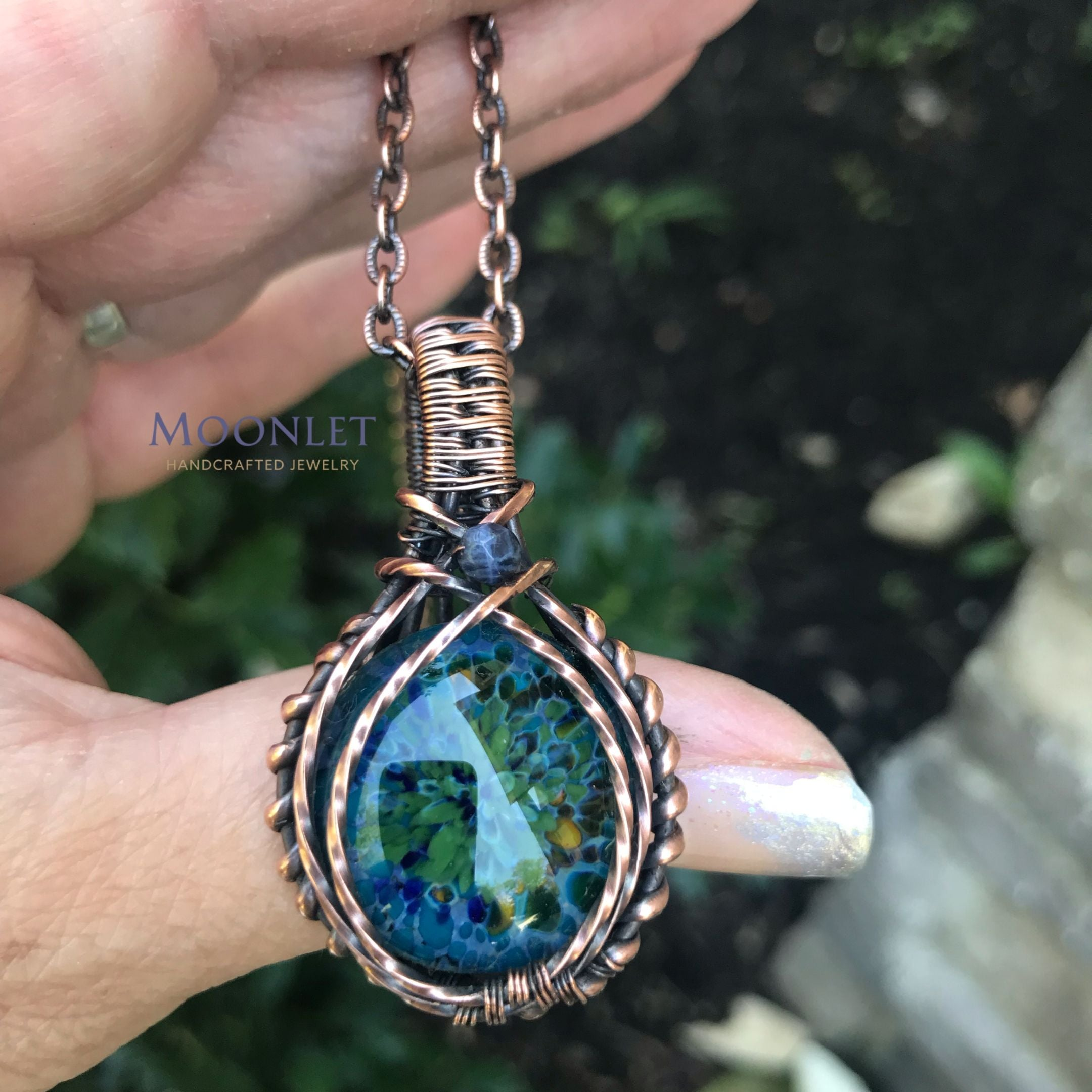 Floral Glass Pendants in Copper