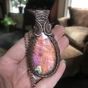 Amber & Pink Labradorite Wire Weave Pendant in Copper