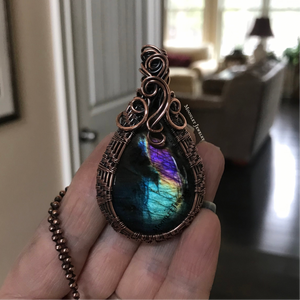 Blue Teal Labradorite Woven Wire Wrapped Pendant in Copper