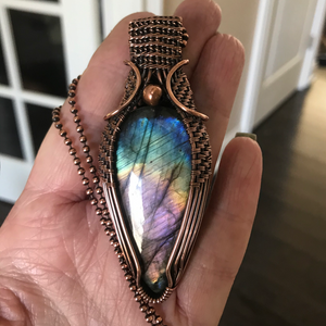 Rainbow Labradorite in Antique Copper