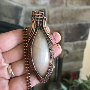 Morganite Wire Wrapped Pendant Necklace in Copper