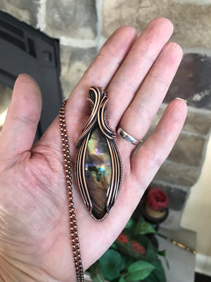 Rainbow Labradorite Marquise in Antique Copper