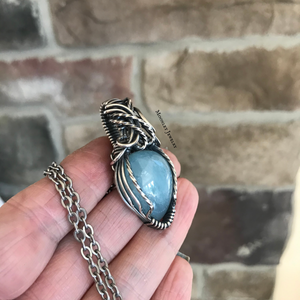 Aquamarine Mini Wire Wrapped Pendant Necklace in Silver