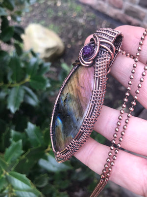 Rainbow Labradorite Marquise Weave in Copper