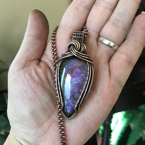 Purple & Red Labradorite Wire Wrapped Pendant Necklace in Copper