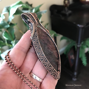 Burgundy Labradorite Statement Pendant in Antique Copper