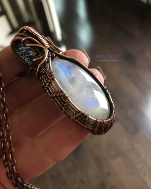 Rainbow Moonstone Oval with Garnet in Copper