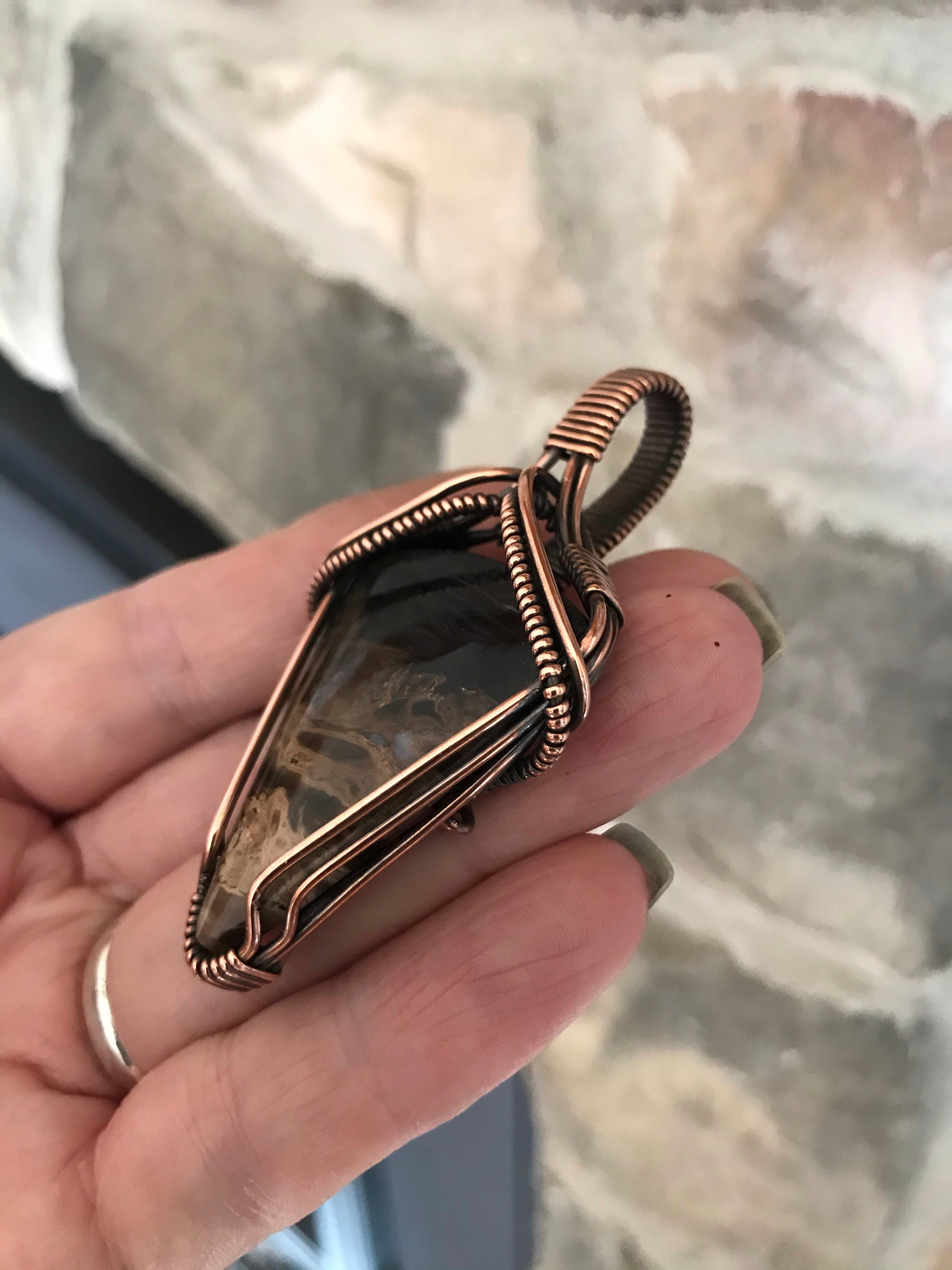 Petrified Palm Wood in Antiqued Copper
