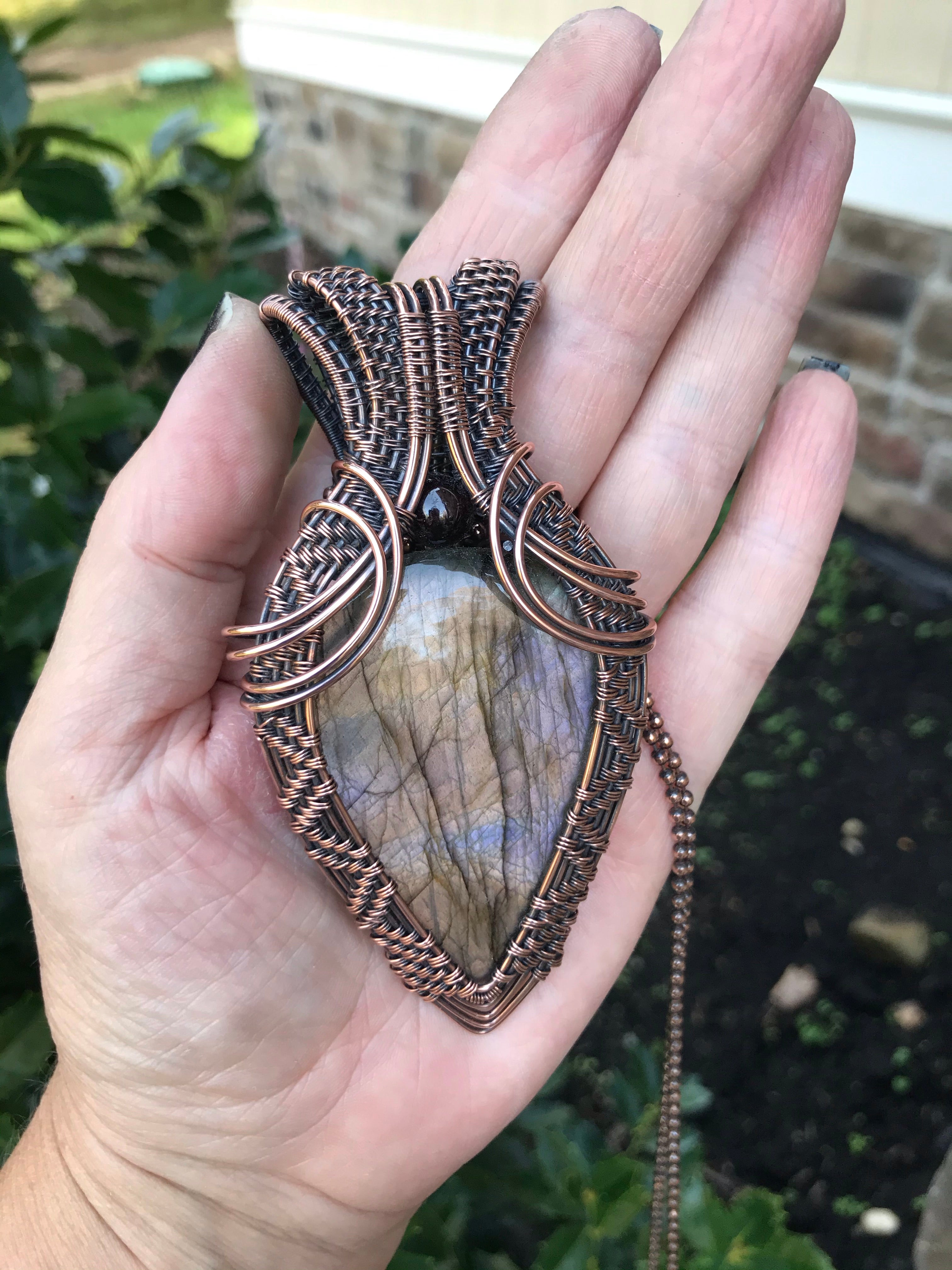 Lavender Silver Statement Labradorite in Antique Copper