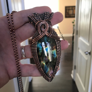 Rainbow Labradorite Woven Wire Wrapped Pendant in Copper