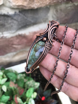 Golden Green Labradorite in Copper
