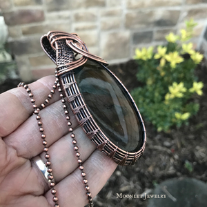 Purple Labradorite Statement Pendant in Antique Copper