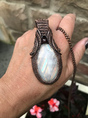 Oval Rainbow Moonstone in Antique Copper