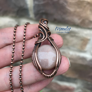 Peach Moonstone in Antique Copper