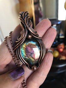 Purple Round Labradorite in Antique Copper