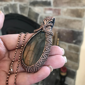 Rainbow Labradorite Wire Weave Pendant in Copper