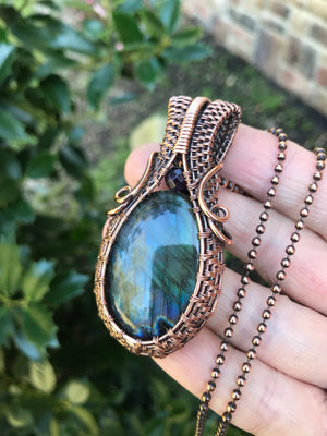 Rainbow Labradorite Oval in Antique Copper