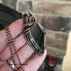 Rainbow Labradorite with Garnet in Antique Copper