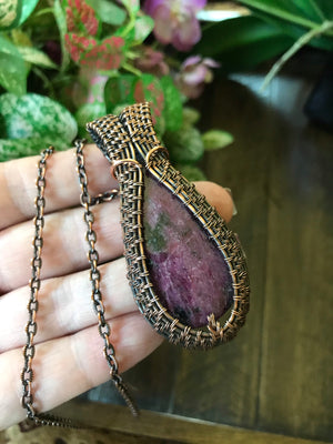 Ruby Teardrop in Antiqued Copper