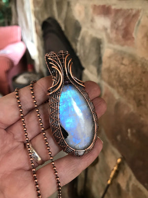 Moonstone Teardrop Pendant in Antique Copper