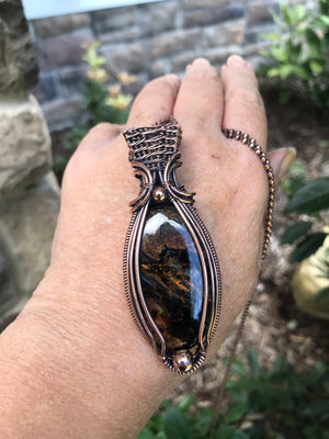 Pietersite Oval Large in Antiqued Copper